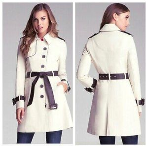 BeBe White Faux Leather Belt Zip Front Trench Coat